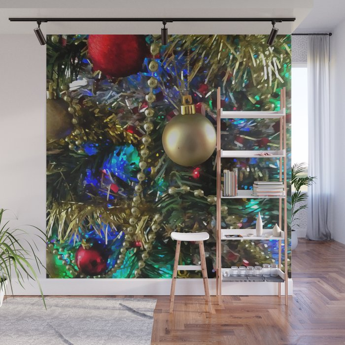 Wall Christmas Trees.Christmas Tree Garlands And Ornaments Wall Mural By Taiche
