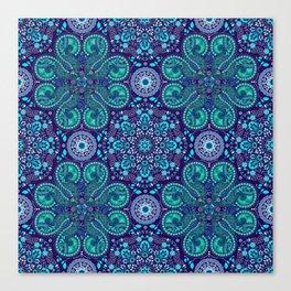 Teal Purple Floral Mandala Canvas Print