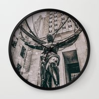 atlas Wall Clocks featuring Atlas by JAY'S PICTURES