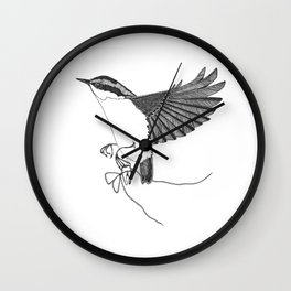 Nuthatch steals a tooth from the tooth fairy Wall Clock