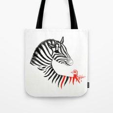 Black Zebra and Orange Bird Tote Bag
