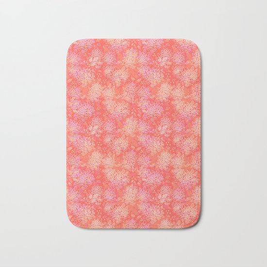 Floral pattern salmon Bath Mat