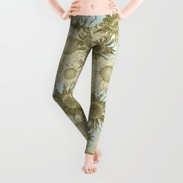 Rococo Brocade Sunflowers (golden straw on mint) Leggings