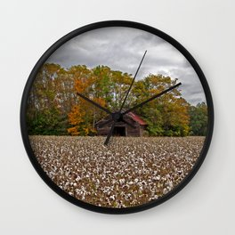 Old Barn in a Cotton Field - Wide Angle Wall Clock