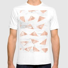 Rose Gold Marble - Triangles on real black and white marble MEDIUM Mens Fitted Tee White