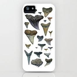 Fossil shark teeth watercolor iPhone Case
