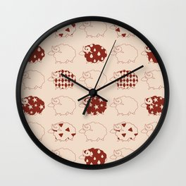 Red and Brown Kawaii Sheep Patterns Wall Clock
