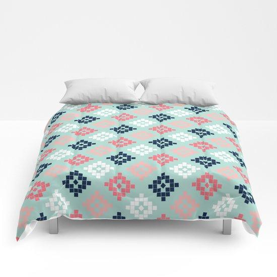 Aztec tribal colorful native geometric pattern design print duvet cover dorm decor college student  Comforters