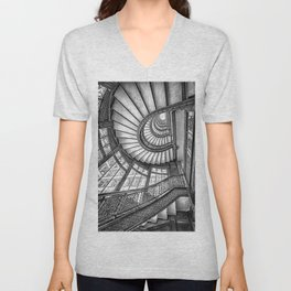 Rookery Building Frank Lloyd Wright Stairway & Glass Windows black and white photography  Unisex V-Neck