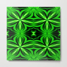Vivid Green Electric Flower Pattern Metal Print
