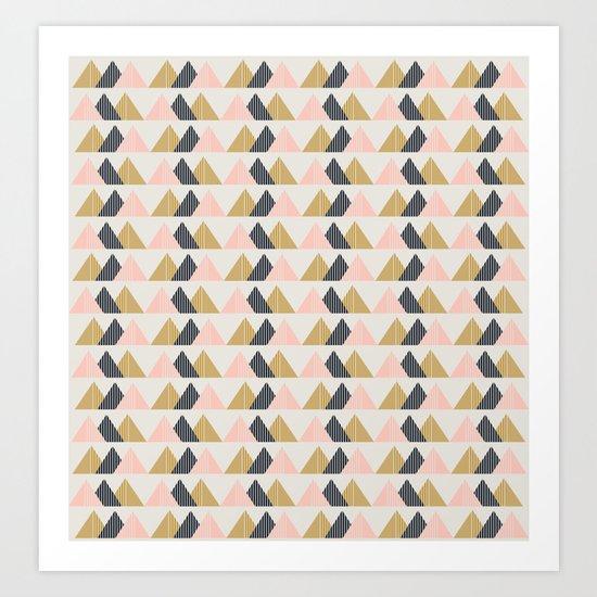 Gold + Black + Pink Mountains Art Print