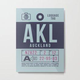 Baggage Tag B - Auckland New Zealand Metal Print
