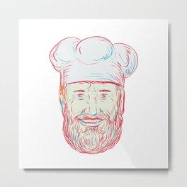 Hipster Baker Cook Chef Head Metal Print