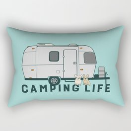 Happy camping life with cute Frenchies Rectangular Pillow