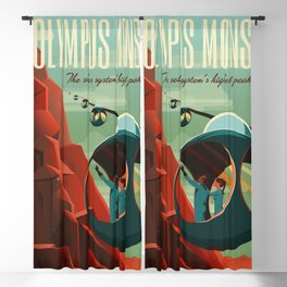 Mars Retro Space Travel Poster Blackout Curtain