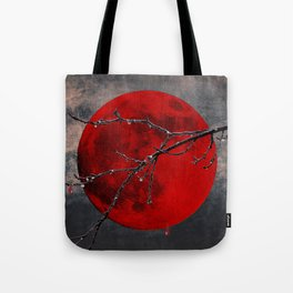 Modern Blood Red Moon Rain Gothic Decor A175 Tote Bag
