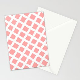 Coral Pink & White Diagonal Grid Pattern- Black & Pink - Mix & Match with Simplicity of Life Stationery Cards