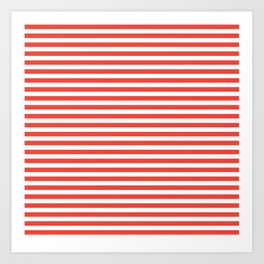 Even Horizontal Stripes, Red and White, S Art Print