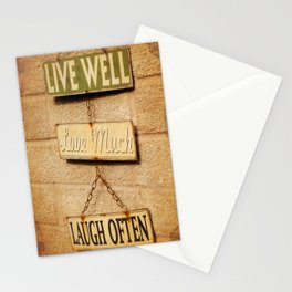 LIVE WELL. LOVE MUCH. LAUGH OFTEN. Stationery Cards
