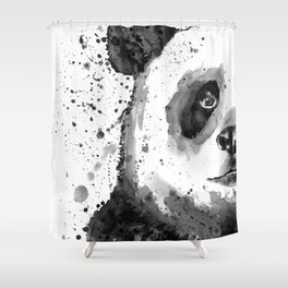 Black And White Half Faced Panda Shower Curtain