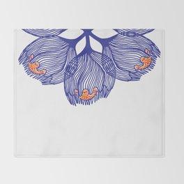 Blue spiral flower Throw Blanket