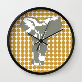 Sudan Brown Safari Dot with Pop Art Elephant Wall Clock