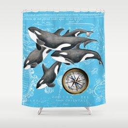 Orca Whales Pod Blue Compass Vintage Map Shower Curtain
