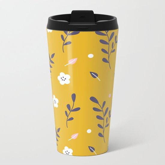 Mustard Floral Pattern Metal Travel Mug