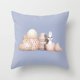 Kawaii Easter - Bunny hatching from Golden Colored Easter Eggs - light blue background Throw Pillow