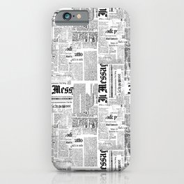 Black And White Collage Of Grunge Newspaper Fragments iPhone Case