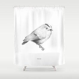 Goldcrest (Regulus regulus) - grey Shower Curtain
