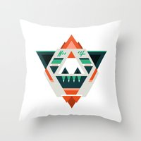 sasquatch Throw Pillows featuring Sasquatch boss by Samuel Boucher