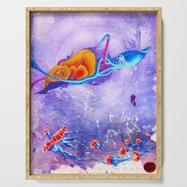 """Gods of the Sea"" Whale,Colossal Squid ,jellyfish and diver Ocean Animal Art Serving Tray"