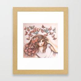Paper Butterflies with girl Framed Art Print