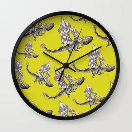 Lemons and dragons pattern Wall Clock