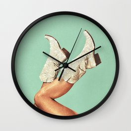 These Boots - Glitter Green Wall Clock
