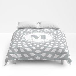 Gray Rosette with Monogram M Comforters