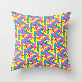 Triangle Optical Illusion CMY + red Throw Pillow