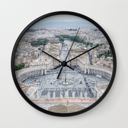 View from St. Peter's Dome, Vatican City, Italy  Wall Clock