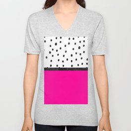 Handdrawn neon pink black watercolor polka dots Unisex V-Neck