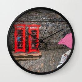 Red Phone Booths At Edinburgh Castle Wall Clock