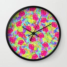 Hawaiian Pink Flowers Wall Clock