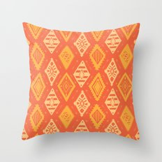Orange Tribal Print Throw Pillow
