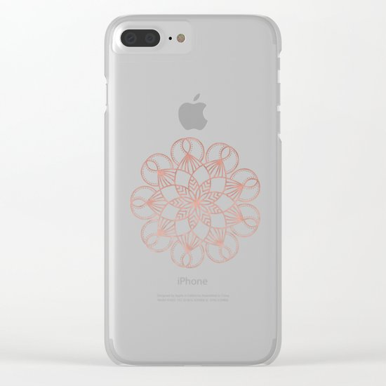 Mandala Blooming Rose Gold on Cream Clear iPhone Case