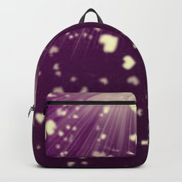 small colored hearts flying white heart in dark purple sunshine Backpack