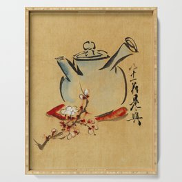 Vintage Japanese Teapot Painting Serving Tray