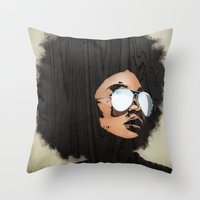 afro Throw Pillows featuring Venus Afro by Vin Zzep