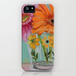 Gerber Daisy Retro Glass Painting iPhone Case