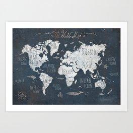 World Map / Rusty Art Print