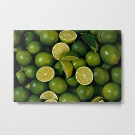 Limet Lemon Fruits Metal Print
